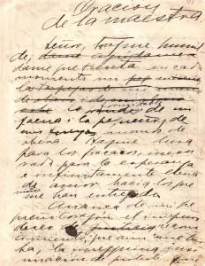 Oración de la maestra, manuscrito - Mistral (descargar)